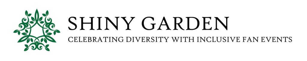 """Shiny Garden Logo with text """"Celebrating Diversity with Inclusive Fan Events"""""""